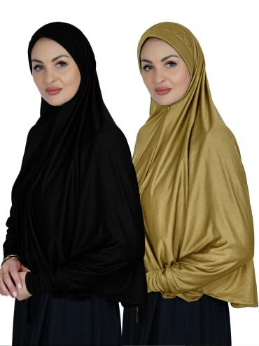 Combo Farashah Instant Hijabs With Sleeve In Black And Mustard