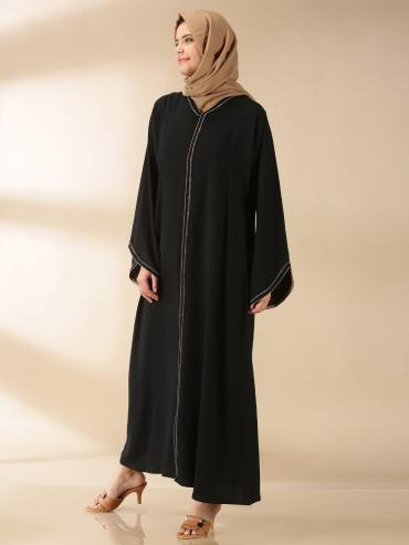 Korean Masha Crepe Simple Free Size Abaya With Beads Hand Work On Front And Sleeve In Black