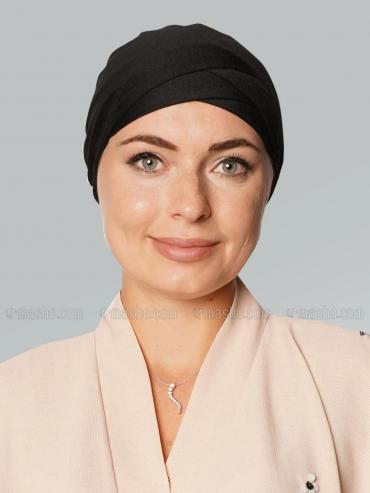 Jersy Viscose Under Hijab Tie Up Cap In Black