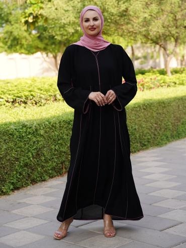 Korean Masha Crepe Simple Free Size Abaya With Pink Piping On Front And Back With Sleeve In Black