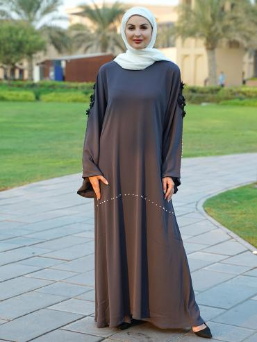 Indonesian Zoom Simple Free Size Abaya With White Pearl Work On Front And Sleeve With Embroidered La