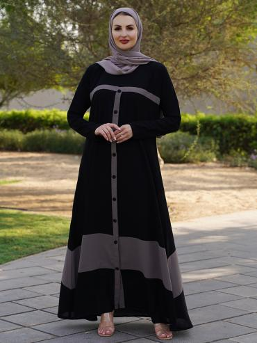 Korean Masha Crepe Free Size Abaya With Show Button On Front In Black And Light Grey