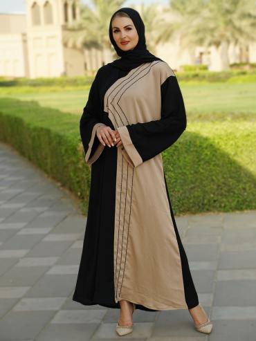 Indonesian Zoom Simple Free Size Abaya With Beads Hand Work On Front In Black And Beige