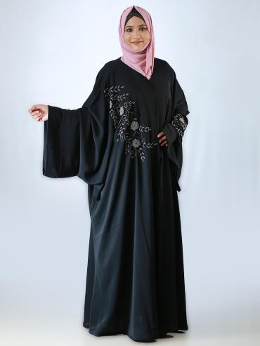 Nida Matte Farasha With Front Open And Floral Work In Black And Silver