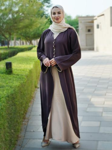 Indonesian Zoom Simple Free Size Attached Shrug Abaya With Piping And Show Button On Front In Coffee
