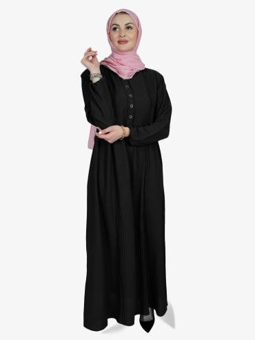 Korean Masha Crepe Simple Free Size Abaya With Button On Front In Black