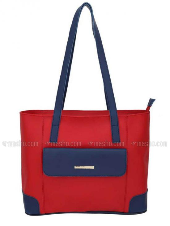 Synthetic Front Flap Pocket Women Tote -  Red