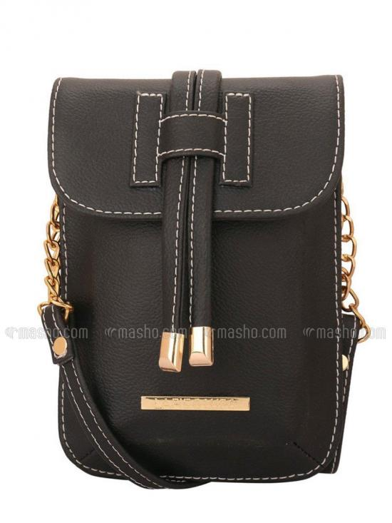 Smoke Women Mobile Synthetic Sling Bag - Black