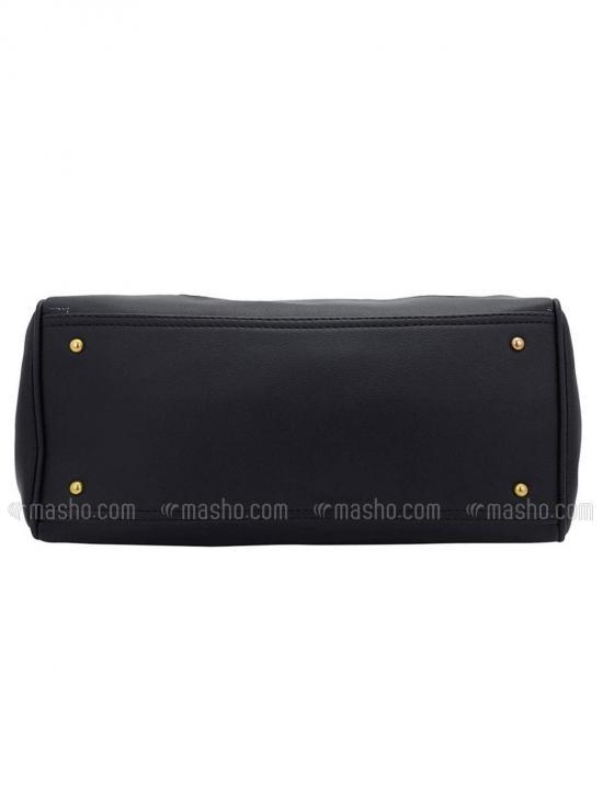 Synthetic Flower Embroidery Women Handbag -Black