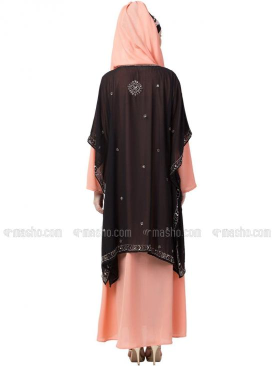 Georgette Double Layer With Embellished Party Abaya In Black And Peach
