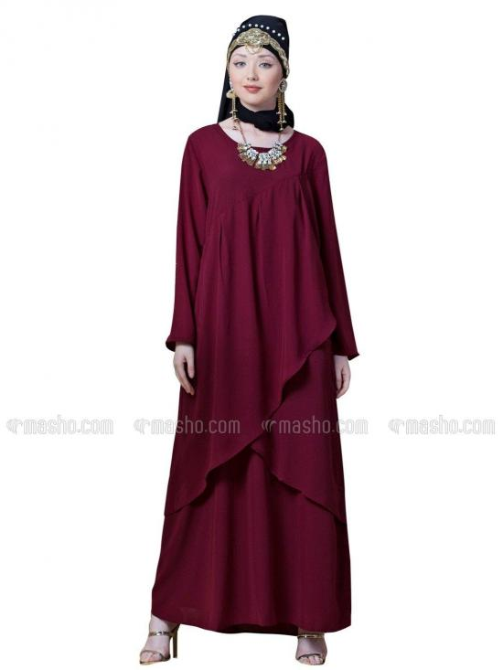 Crepe Over lapped panel casual Abaya In Maroon