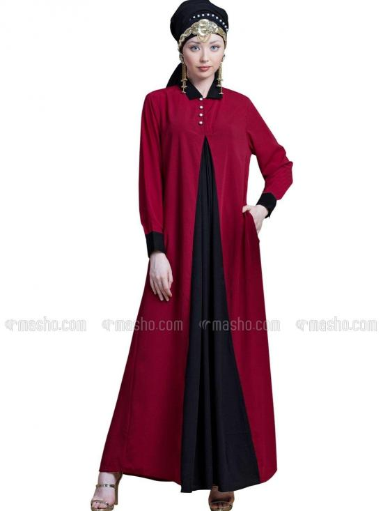 100 % Polyster Crepe Contrast Yoke Casual Abaya In Red And Black