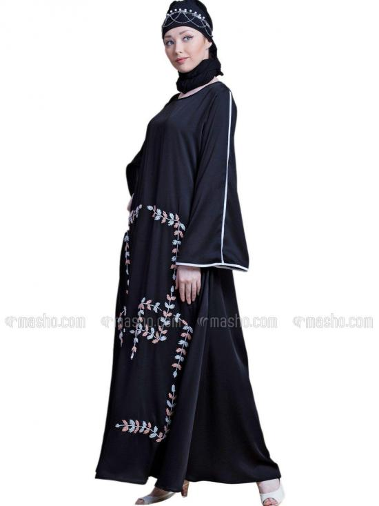 Satin Front hand embroidered Bell Sleeve party Abaya In Black