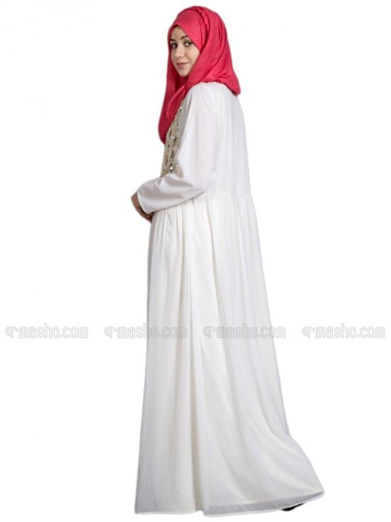 Poly Georgette Embellished Party Burqown In Off White