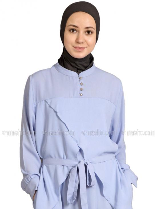 100% Polyester Crepe Yoke At Chest Triangle Panels Abaya in Sky Blue