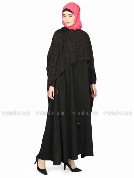 100% Polyester Separate Cape Beaded Abaya in Black
