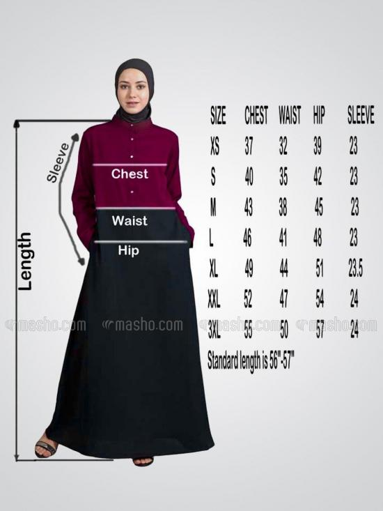 100% Polyester Crape Contrast Side Panels A line Abaya in Black and Peach