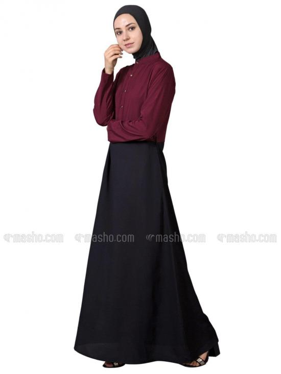 100% Polyester Crepe Contrast Body Abaya in Maroon and Black