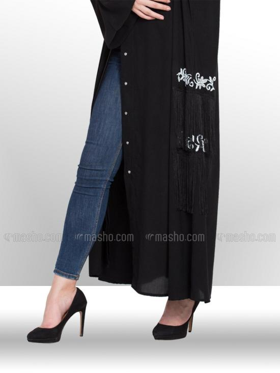 100% Polyester Crepe Dubai Kaftan With Front Open, hand embroidered & fringes at side in Black