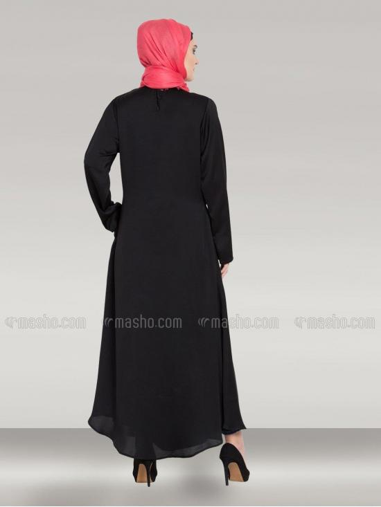100% Polyester Satin Abaya With Front Embroidered Umbrella Cut In Silver & Black