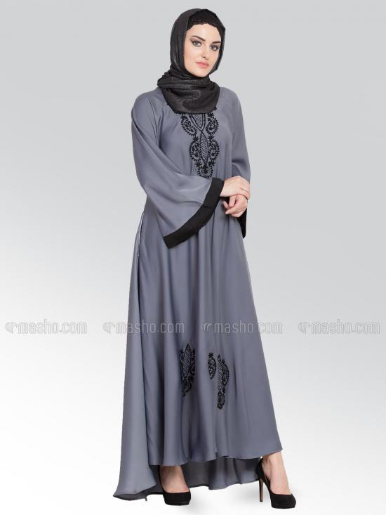 100% Polyester Satin Nida Abaya With Thread Embroidered Umbrella In Grey and Black