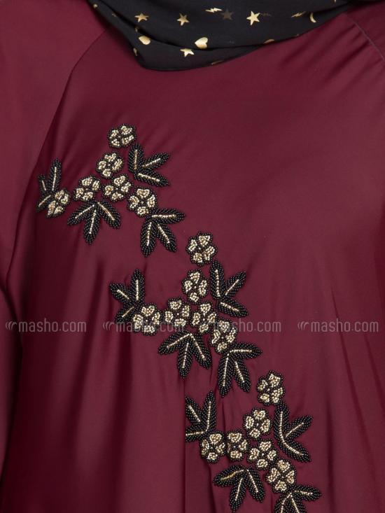 100% Polyester Satin Nida Abaya Hand Embroidered Umbrella In Maroon