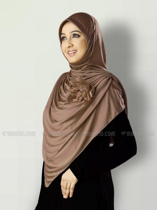 Anarkali Xtra Soft Knitted Icra Instant Hijab in Dark Wheat