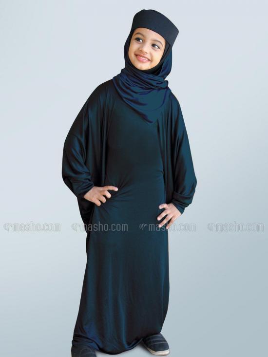 Little Mehariya Soft Knitted Icra Fabric Kids Abaya In Grey