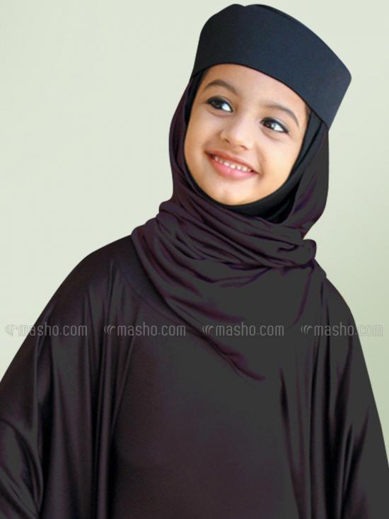 Little Mehariya Soft Knitted Icra Fabric Kids Abaya In Formal Grey