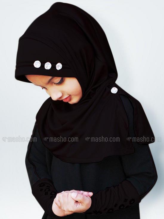 Little Riya Soft Knitted Icra Fabric Hijab In Black