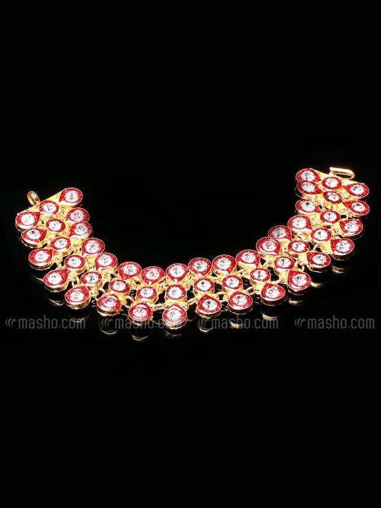 Awadhi Handmade High Quality Brass Golden Polish Bracelets With Meenakari Work In Red