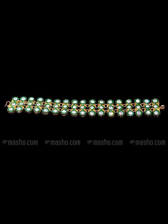 Awadhi Handmade High Quality Brass Golden Polish Bracelets With Meenakari Work In Green