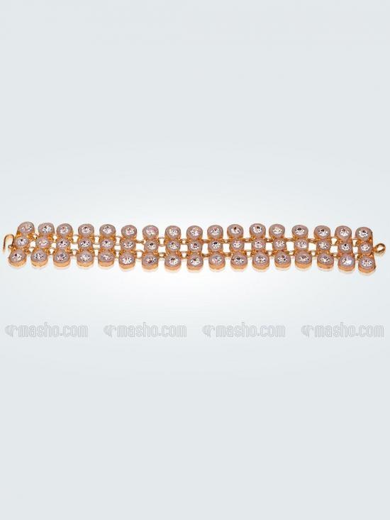 Awadhi Handmade High Quality Brass Golden Polish Bracelets With Meenakari Work In White