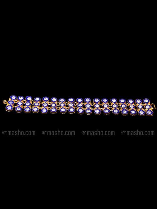 Awadhi Handmade High Quality Brass Golden Polish Bracelets With Meenakari Work In Blue
