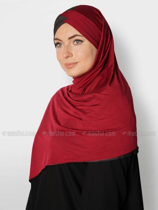Soft Knitted Lycra Turban Style Double Shade Instant Hijab In Black And Maroon