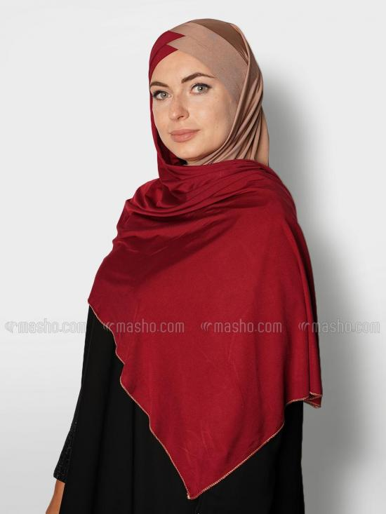 Soft Knitted Lycra Turban Style Double Shade Instant Hijab In Beige And Maroon