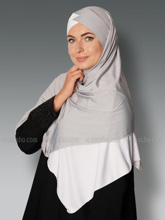 Soft Knitted Lycra Turban Style Double Shade Instant Hijab In White And Ash