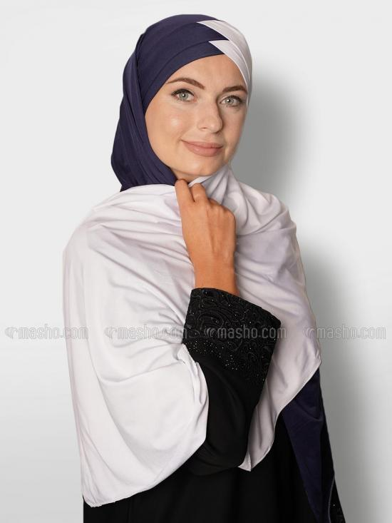 Soft Knitted Lycra Turban Style Double Shade Instant Hijab In White And Navy Blue