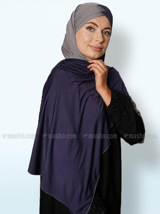 Soft Knitted Lycra Turban Style Double Shade Instant Hijab In Grey And Navy Blue