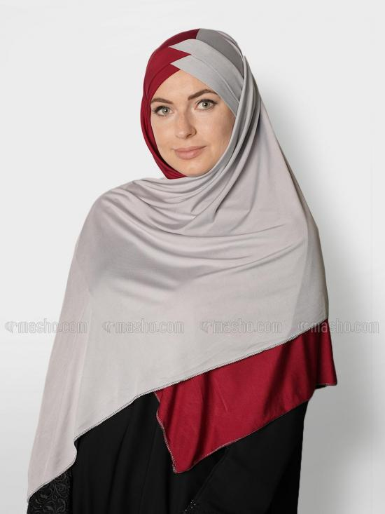 Soft Knitted Lycra Turban Style Double Shade Instant Hijab In Maroon And Ash