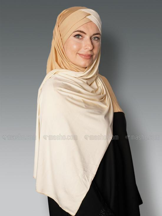 Soft Knitted Lycra Turban Style Double Shade Instant Hijab In Gold And Cream