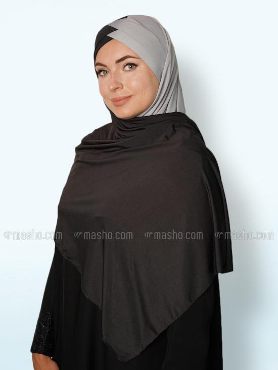 Soft Knitted Lycra Turban Style Double Shade Instant Hijab In Black And Ash