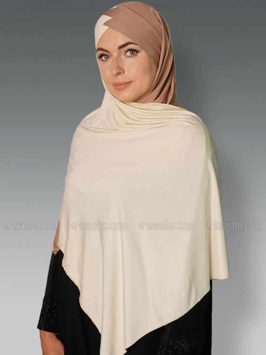 Soft Knitted Lycra Turban Style Double Shade Instant Hijab In Beige And Cream