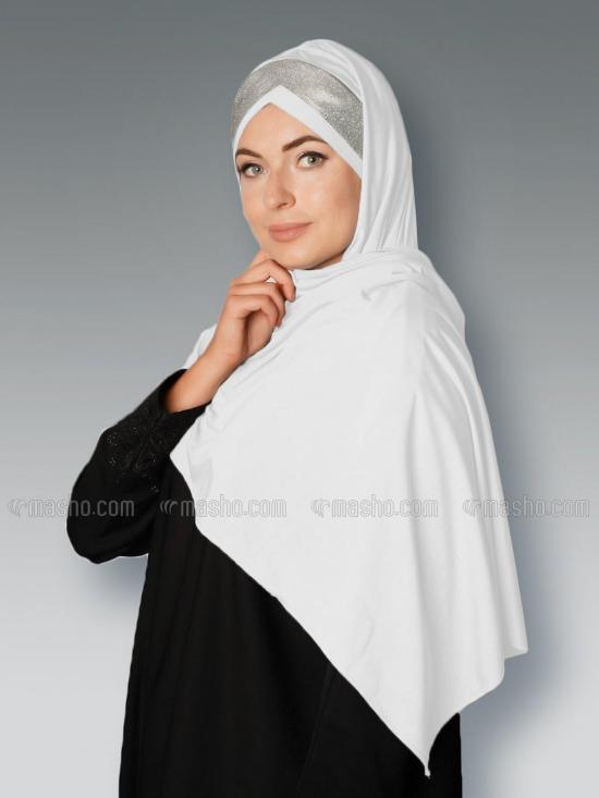 Soft Knitted Lycra Turban Style Instant Hijab With Glittering Band In White And Silver