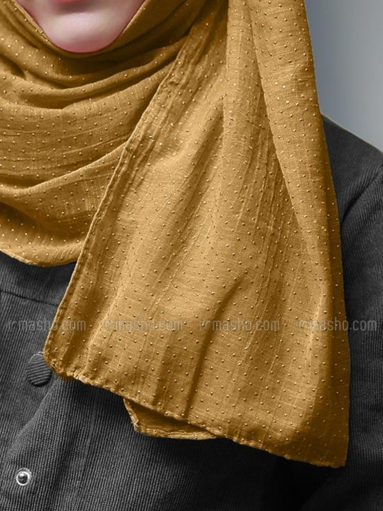 Cotton Mix Stole With Golden Dots In Tangerine