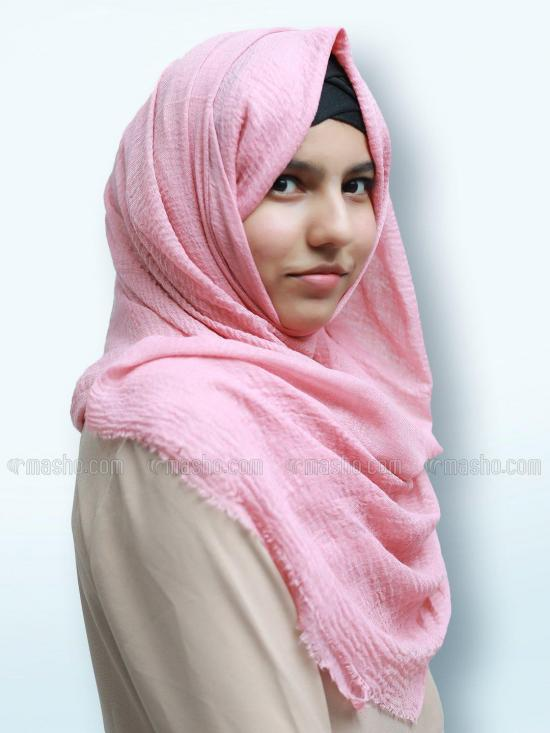 Cotton Mix Plain Stole In Baby Pink