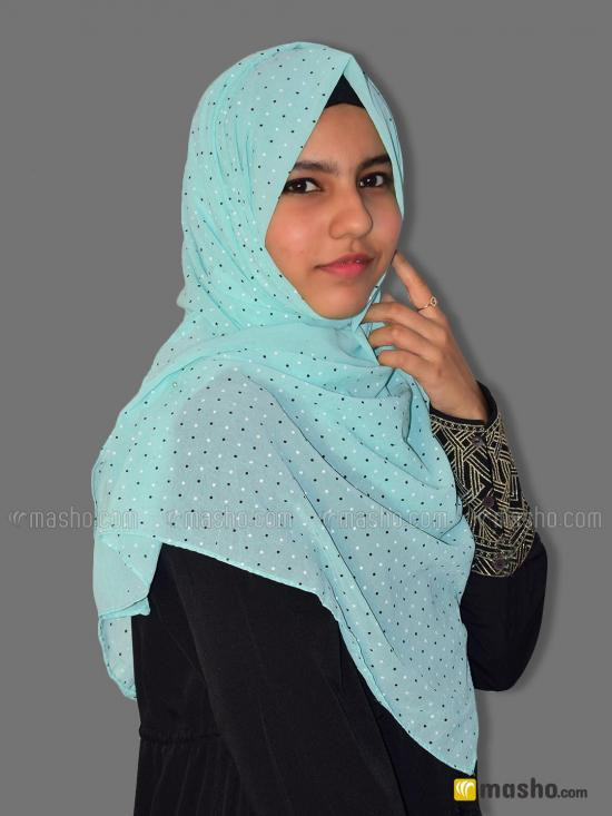 Georgette Stole With Dot Print In Mint