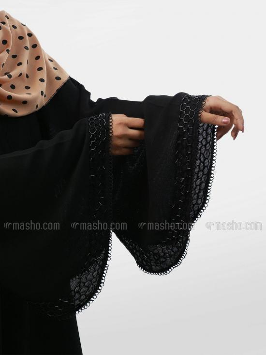 Korean Masha Crepe D Cut Free Size Abaya With Crystal Pipe And Lace Work In Black