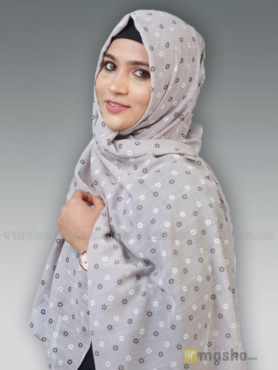 Cotton Mix Stole With Printed Work In Ash