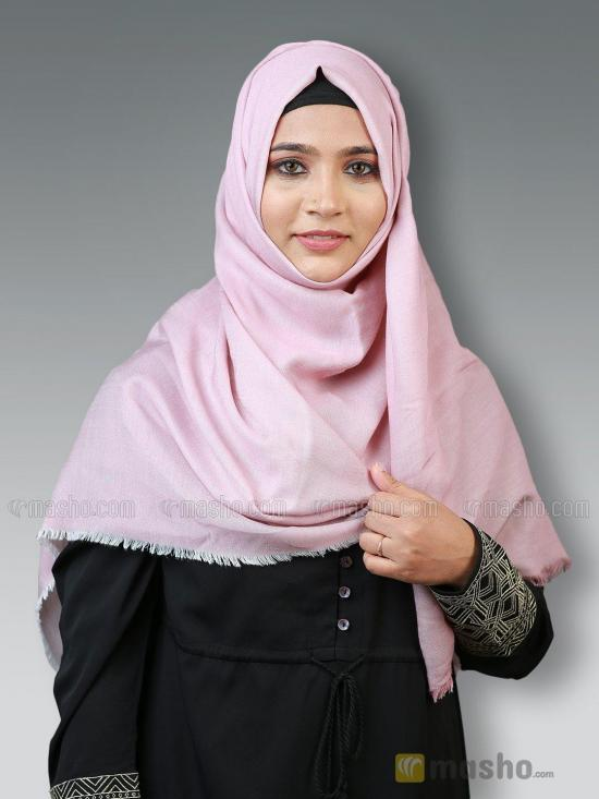 Soft Poly Mix Plain Stole In Puce Pink